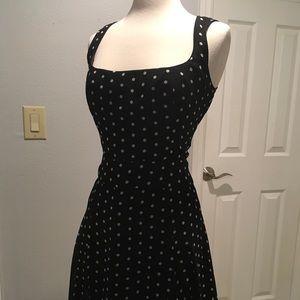 INC navy and cream polka dot dress